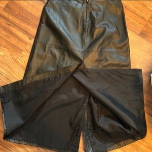 INC Brand black leather maxi skirt with slit Sz 4